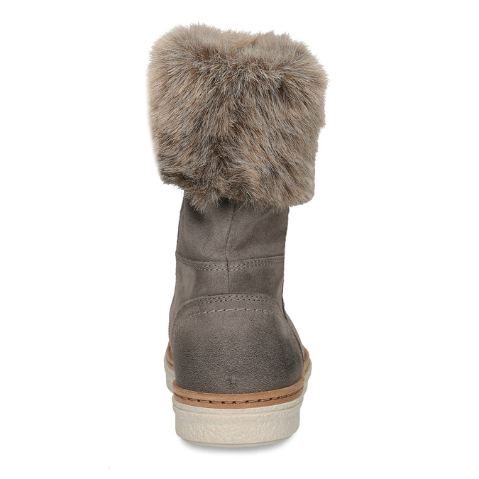 Leather winter shoes with fur, gray , 596-2633 - 15