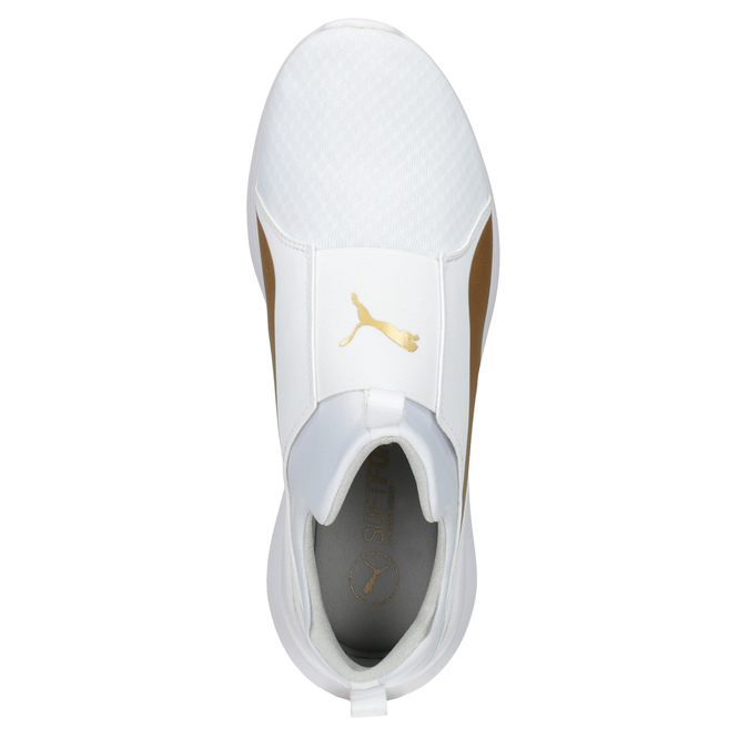 White Ladies' Sneakers with Gold Stripe puma, white , 509-1200 - 15