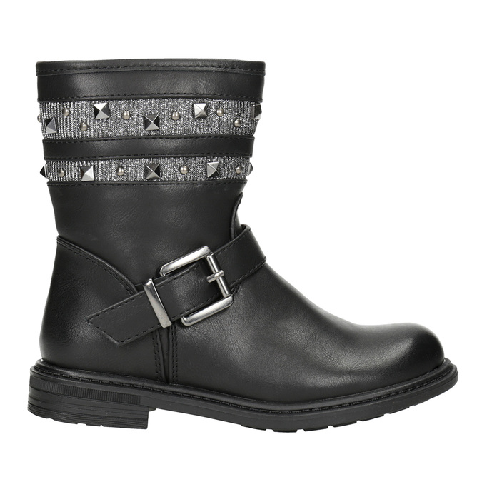 Girls' High Boots with Studs mini-b, black , 291-6398 - 26