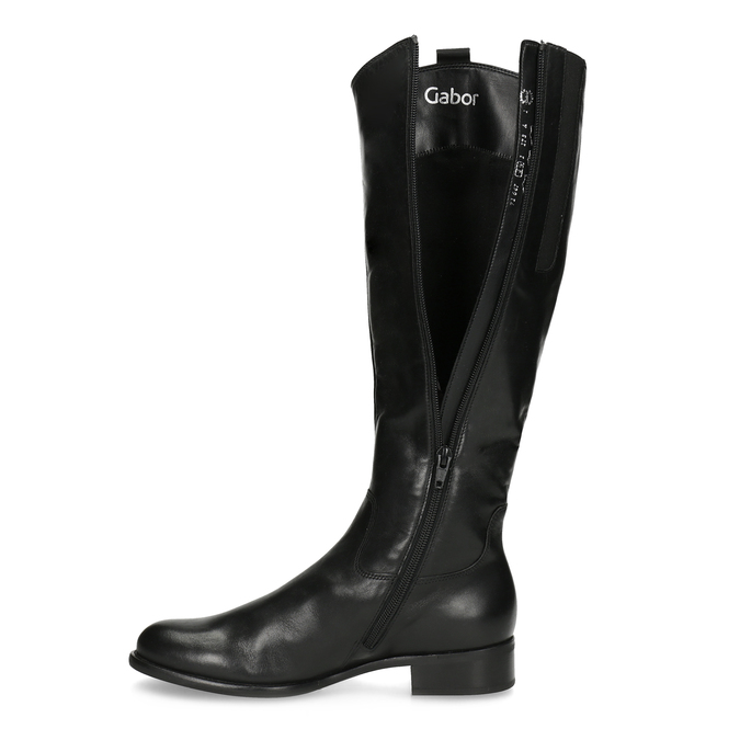 Ladies' leather high boots with low heel gabor, black , 694-6007 - 17