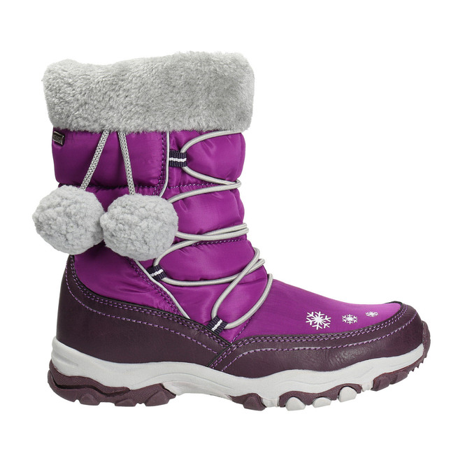 Girls' Snow Boots with Pompoms mini-b, violet , 399-5656 - 15