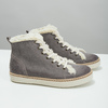 Leather ankle-cut sneakers with fur weinbrenner, gray , 596-2627 - 18