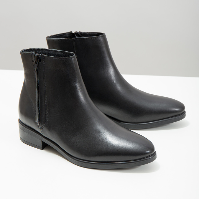 Black leather ankle boots with zip bata, black , 594-6518 - 18
