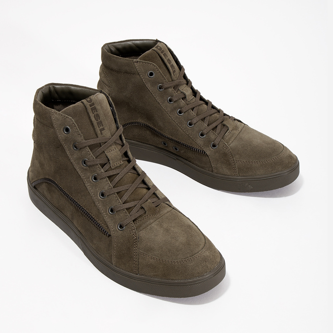 Brushed leather ankle sneakers diesel, brown , 803-4629 - 26