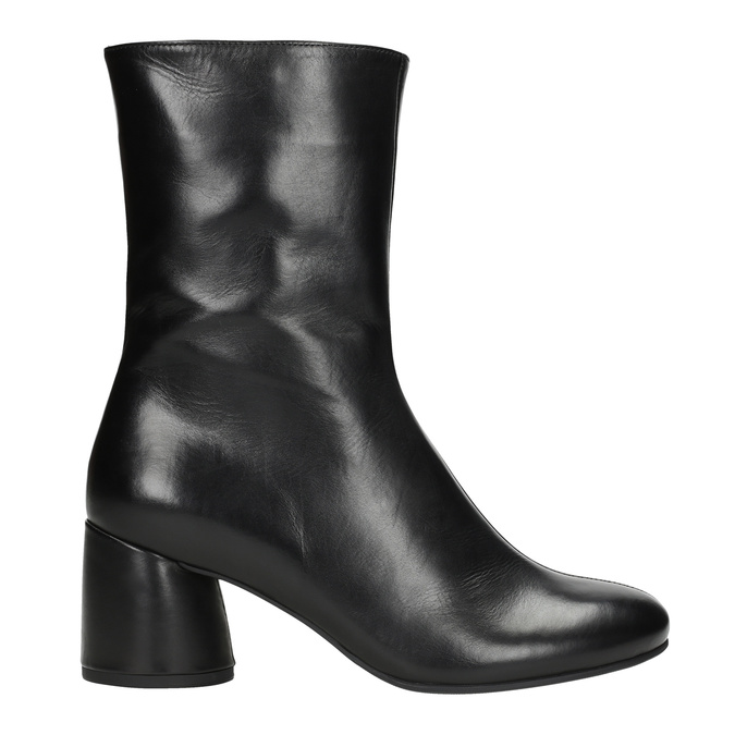 Leather high boots with chunky heel hogl, black , 714-6060 - 16