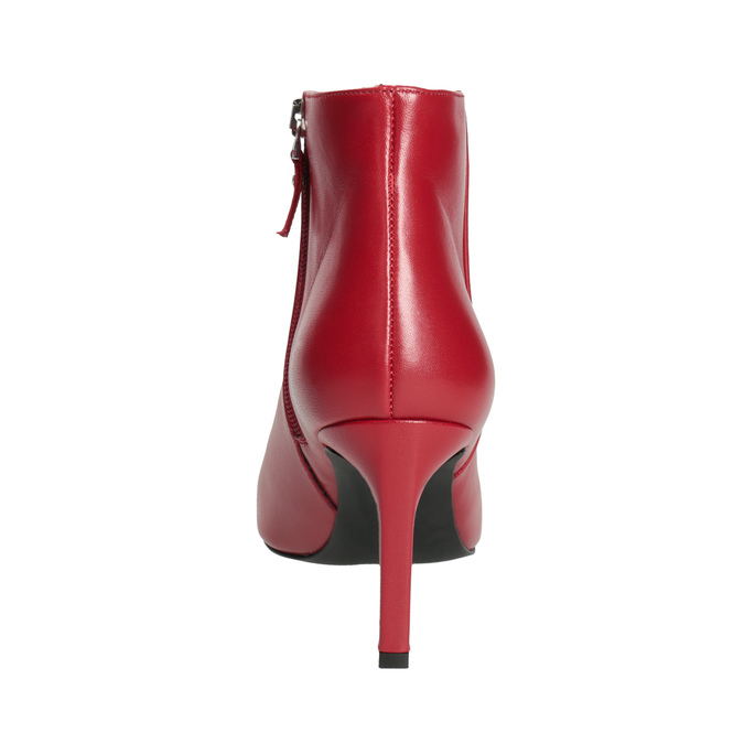 Red leather high ankle boots bata, red , 794-5651 - 15