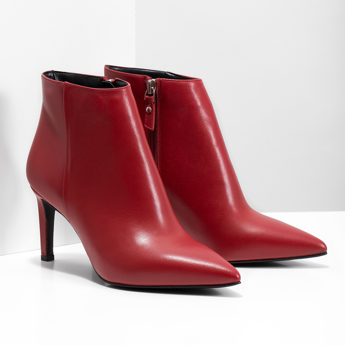Red leather high ankle boots bata, red , 794-5651 - 26