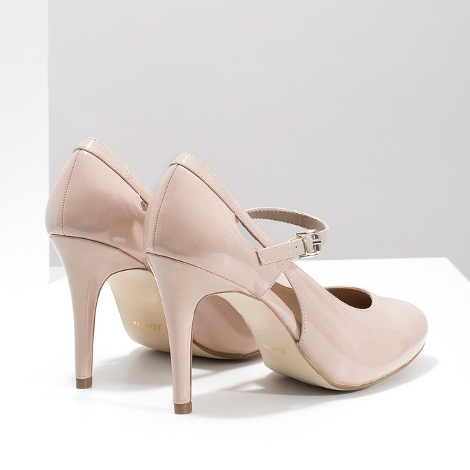 Pinkish cream-colored pumps with cut-outs insolia, pink , 721-8614 - 16