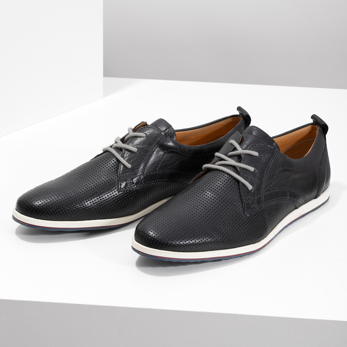 Casual leather low shoes bata, black , 824-9124 - 16