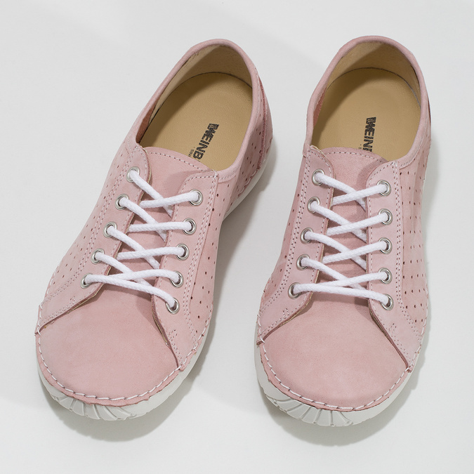 Pink leather low shoes weinbrenner, pink , 546-5602 - 16
