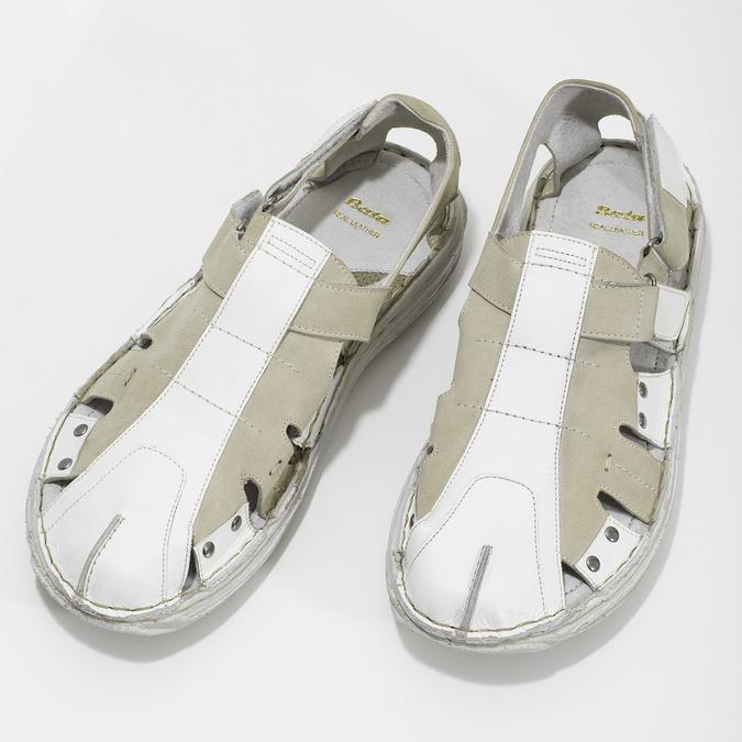 Men's leather sandals bata, white , 866-1622 - 16