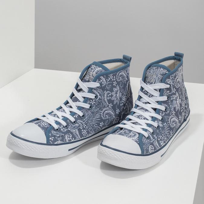Ladies' patterned ankle sneakers north-star, blue , 589-9442 - 16