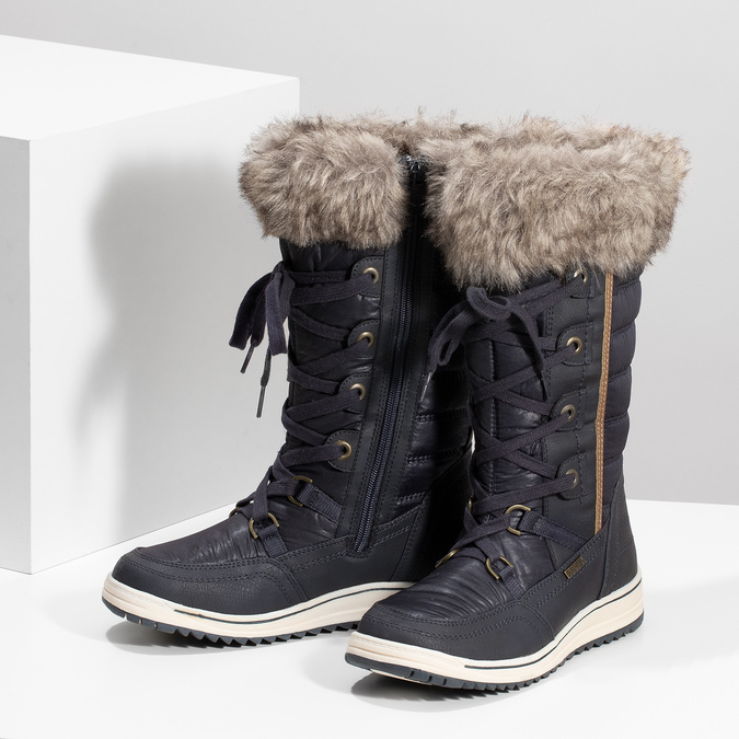 Ladies' snow boots with fur bata, blue , 599-9620 - 16
